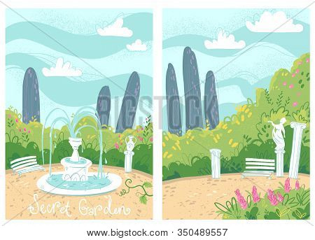 Cosy Secret Garden With Fountain And Antique Columns, Vector Illustration