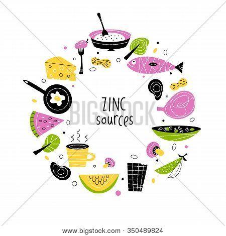 Zinc Rich Foods. Vector Flat Cartoon Illustrationin Circle