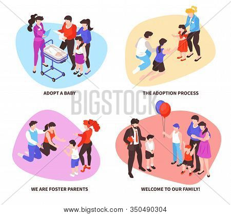 Child Baby Adoption Concept Isometric Compositions Set With Procedure Meeting Foster Parents Welcome