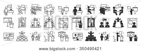 Simple Set Of Business People Related Vector Line Icons. Contains Such Icons As Presenter, Teacher,