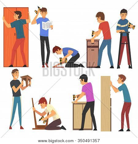 Men Assembling And Installing New Furniture Set, Manual Furniture Assembly Vector Illustration