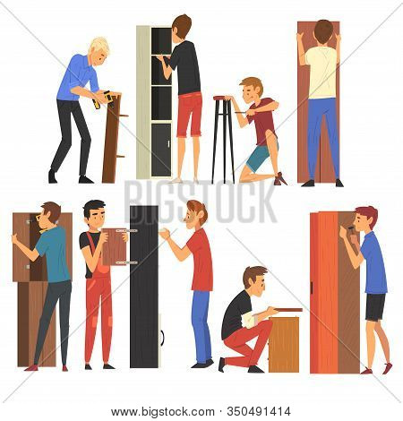 Men Assembling And Installing New Wooden Furniture Set, Manual Furniture Assembly Vector Illustratio