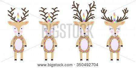 Deers. Cute Hand Drawn Nursery Poster With Handdrawn Deers In Scandinavian Style. Deer With Unicorn