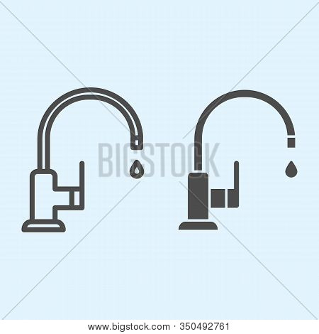 Faucet Line And Solid Icon. Sink, Curved Pipe Tap With Water Drop. Home-style Kitchen Vector Design