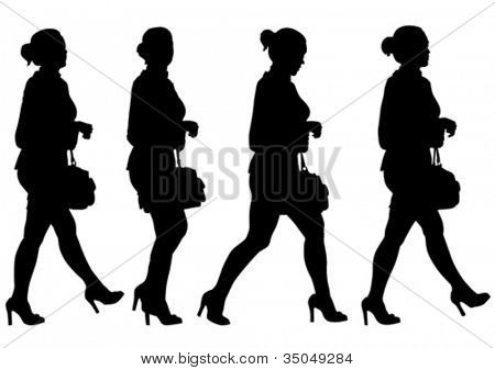Vector image of young women with shopping bags