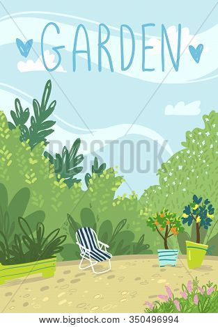 Cosy Summer Garden, Relaxation Time. Vector Illustration