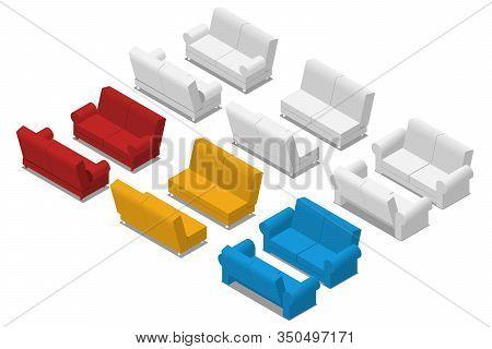 Isometric Sofa Set Isolated On White Background. Realistic 3d Sofa,  Furniture Office. Modern Interi