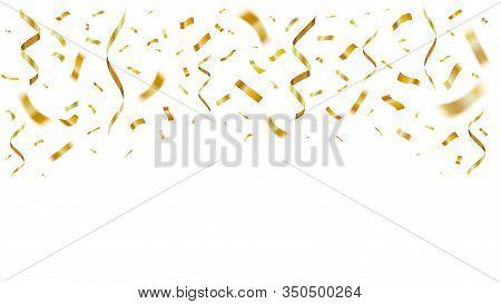 Gold Shiny Realistic Confetti. Celebration Golden Paper Flying Confetti Party Decor For Anniversary.