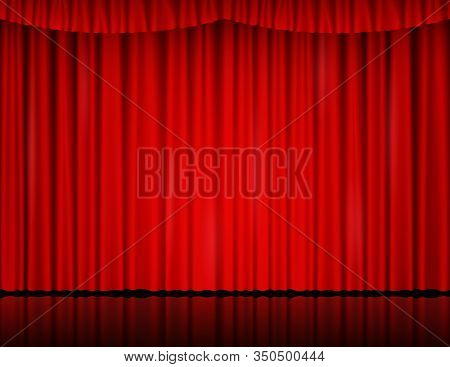 Red Velvet Curtain In Theater Or Cinema. Vector Background With Closed Stage Curtains With Drapery A