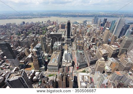 New York City Landmarks - Midtown Manhattan Aerial View Towards Clinton And Hudson River