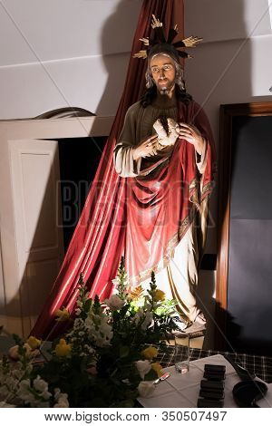Avetrana, Italy - April 19, 2019 - Exhibition Of Religious Art During Holy Week. The Statue Of Chris