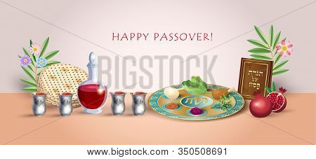 Happy Passover banner greeting card with decorative traditional symbols kiddush cup, four wine glass, matzo matzah - jewish traditional bread for Passover seder, pesach plate, candles, Haggadah, vector