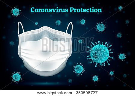 Coronavirus Protection Medical Mask. Concept Of Protection Against Influenza, Asian Virus Infection.