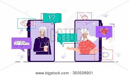 Old Aged Family Couple Man  Woman Communication Using Smart Phone Video Call. Elderly People Talking