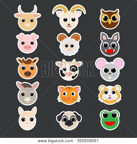 Stickers Of Cute Domestic Heads. Cartoon Characters. Flat Vector Stock Illustration. Cute Heads Of P