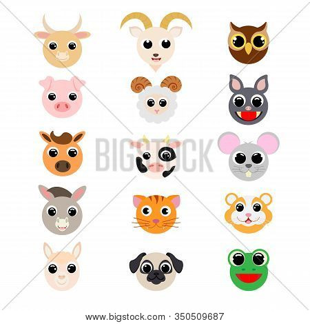 Funny Cute Domestic Animals Heads. Cartoon Characters. Flat Vector Stock Illustration On White Backg