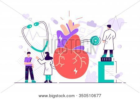 Circulatory System Complications Concept. Cardiologists Studying Human Organ. Heart Disease, Ischemi