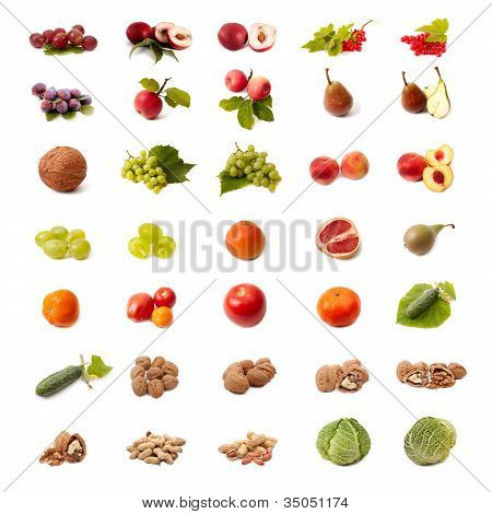 Isolated Fruit And Vegetable Set