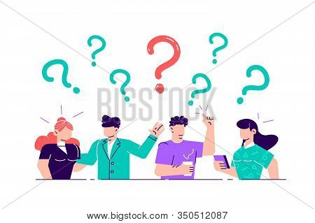 Vector Illustration. Concept Illustration Of People Frequently Asked Questions Around Question Marks