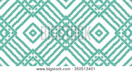 Blue Rustic Tile Vector Seamless Pattern. Abstract Batik Traditional Print. Ethnic Fabric Ornament.