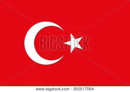 Turkey Flag With Official Colors And The Aspect Ratio Of 2:3. Flat Vector Illustration.
