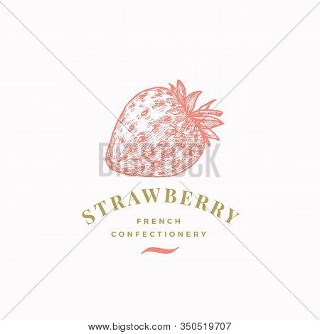 Strawberry Confectionary Abstract Vector Sign, Symbol Or Logo Template. Hand Drawn Confectionery Ber