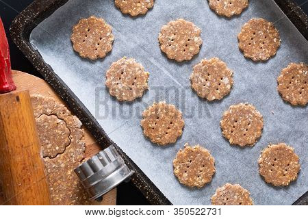 Healthy Food Concept Raw Dough Of Homemade Organic Digestive Oat And Wheat Bran Cookies With Copy Sp