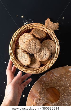 Healthy Food Concept Homemade Organic Digestive Oat And Wheat Bran Cookies With Copy Space