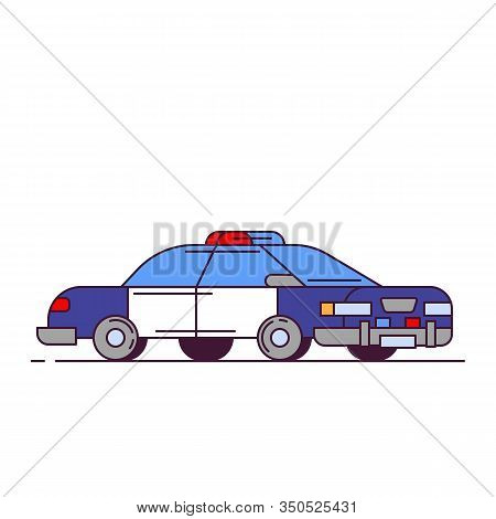 Side View Of Red Police Car With Lights. Line Style Vector Illustration. Vehicle And Transport Banne