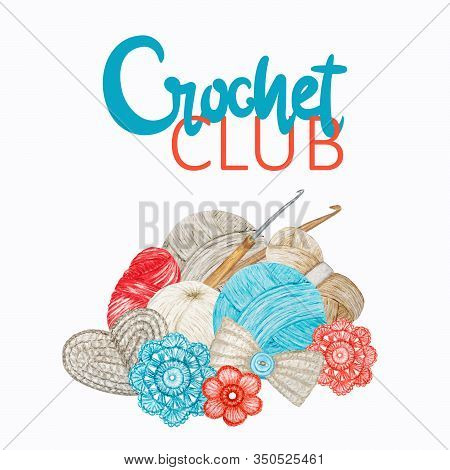 Red Gray Beige Crochet Club Logotype, Branding, Avatar Composition Of Hooks, Yarns, Crocheted Heart,