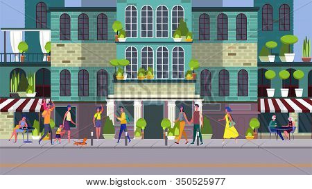 People Walking Down Street At Night. Family, Outdoor Cafe, Apartment House Flat Vector Illustration.