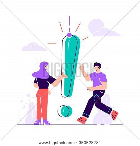 Vector Illustration, Concept Illustration Of People Frequently Asked Questions, Waiting To Be Answer