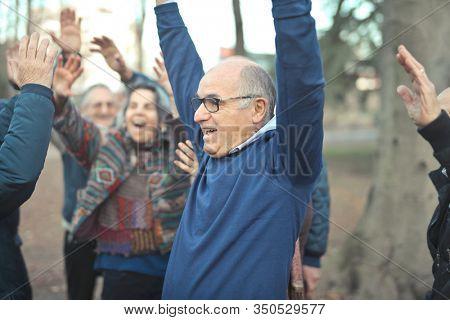 group of elderly friends rejoice in a park