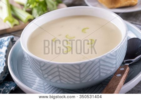 A Bowl Of Hot And Delicious Cream Of Celery Soup.