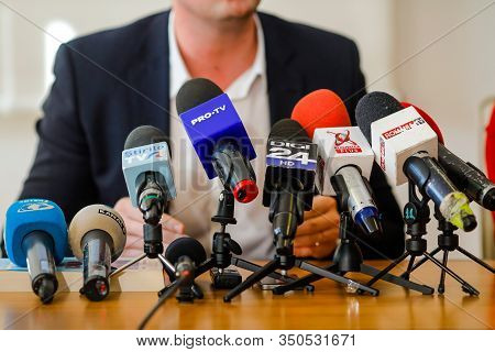 Bucharest, Romania - February 12, 2020: Man Holds A Press Conference And Speaks In Various Romanian