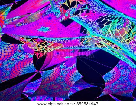 Colorful Lycra Psytrance Stage Uv Active Decorations At Night.
