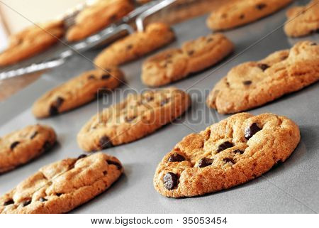 Freshly baked chocolate chip cookies on non-stick cookie sheet with cooling rack in soft focus in background.  Macro with extremely shallow dof.