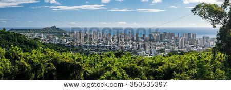 Wide Panoramic Image Of Waikiki, Honolulu And Diamond Head From The Tantalus Overlook On Oahu, Hawai