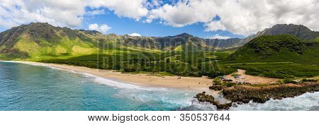 Broad Panorama Of Makua Beach And Valley From Aerial View Over The Ocean On West Coast Of Oahu, Hawa