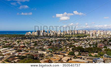 Aerial Drone View Of Suburbs Of Kaimuki And Waikiki With Honolulu In The Background