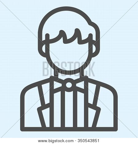 Groom Line Icon. Newly Married Man In Black Jacket. Wedding Asset Vector Design Concept, Outline Sty