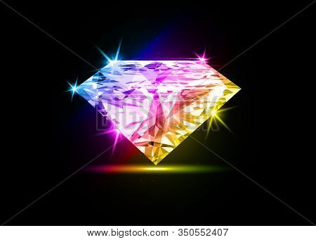 Vector Colorful Dazzling Diamond On Black Shining Background. Concept For Chossing Best Diamond Gem