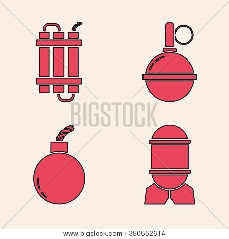 Set Aviation Bomb , Detonate Dynamite Bomb Stick, Hand Grenade And Bomb Ready To Explode Icon. Vecto