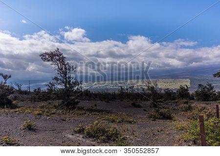 Kilauea Volcano, Hawaii, Usa. - January 9, 2012: Looking Down From The Mountain Onto Surrounding Lan