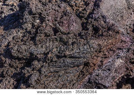 Kilauea Volcano, Hawaii, Usa. - January 9, 2012: Closeup Of Pile Of Black And Brown 1961 Lava.