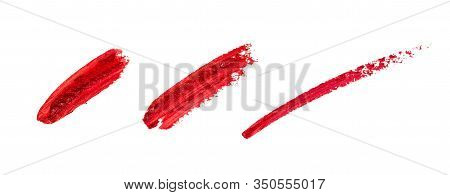 Smudged Lipstick Strokes For Decoration Design. Smear Hand Drawing Lines. Red Color Cosmetic Product
