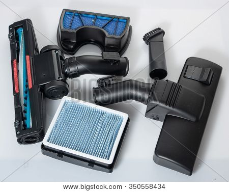 Set Of Vacuum Cleaner Accessories On A White Background