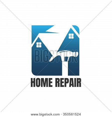 Home Repair Logo. House, Real Estate, Construction, Building Logo. House Vector. Tools Icon. Repairs