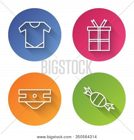 Set Line Baby Onesie, Gift Box, Baby Absorbent Diaper And Candy. Color Circle Button. Vector