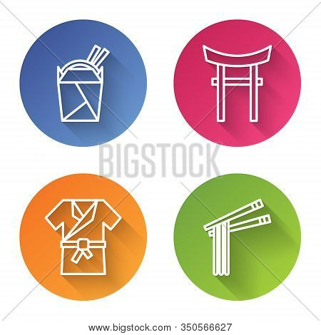 Set Line Asian Noodles In Paper Box And Chopsticks, Japan Gate, Japanese Costume Kimono And Asian No